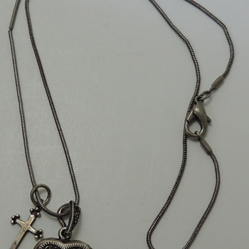 Woman's Necklace - Locket & Cross - Sterling Silver - Fine Jewelry