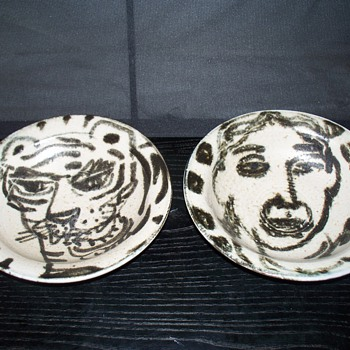 Art Pottery Hand Painted Bowl Pair Picasso-ish - Art Pottery