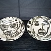 Art Pottery Hand Painted Bowl Pair Picasso-ish