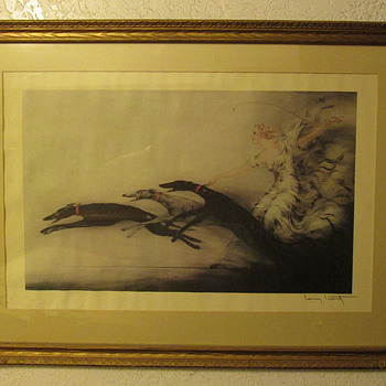 Art Deco Louis ICart stone lithograph &quot;Speed&quot;