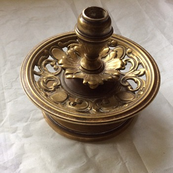 Antique brass candlestick holder