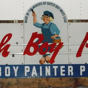 Twelve foot long, 7 piece Porcelain, 3D Dutch Boy Paints Store sign. N E 1 know age?