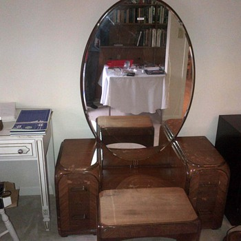 Art deco dresser , bench and mirror.