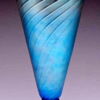 Steuben Blue Aurene Spiral Ribbed Vase (shape 6034)