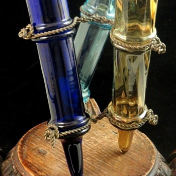 Antique Legras French Nouveau Smokey Topaz Cobalt - Blue Art Glass Trio Vase Set