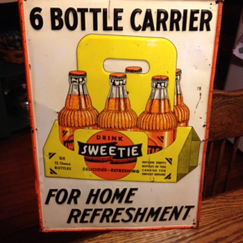 Embossed Sweetie Soda Tin Sign...The Novelty Adv. Co. Coshocton,O. 1940's-1950's - Advertising