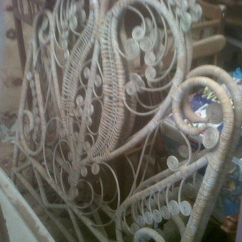 I thing these are from early 1900 WICKER OR RATAN Victorian Headboards not sure - Furniture