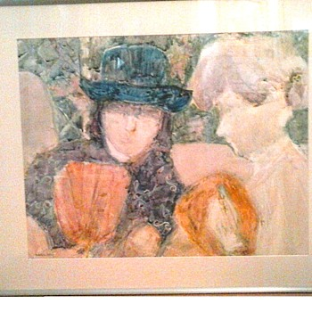"Madeleine Vallier ""Garden Party""/34"" x 40"" Framed /Watercolor On ""YUPO"" Paper/ Circa 20th-21st Century - Fine Art"