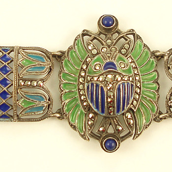 Deco Plique a Jour Egyptian Revival Bracelet -- another one! - Fine Jewelry