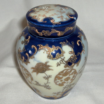 Antique Japan Porcelain Tea Caddy Jar Gilt, White  & Cobalt Enamel Designs