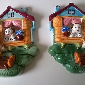 Very Kitschy 1950s Wall Plaques, Thrift Shop Find $3.00