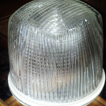 "Holophane reflective cut glass shade 6"" diameter"