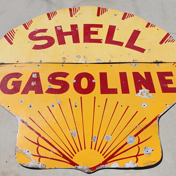 Porcelain Shell Gasoline Advertising Sign - Signs
