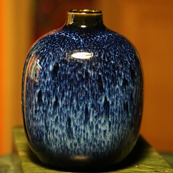 Little Japanese Vase with Hare's Fur Glaze - Art Pottery