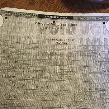 Samuel Theodore Williams Death Certificate (Ted Williams) - Baseball