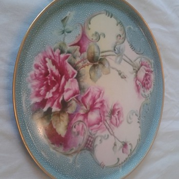 Haviland Charger Hand Painted Roses, Raised silver dots and gold trim?