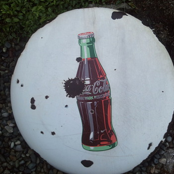Coca Cola button sign 36 in.