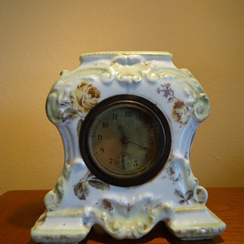 VERY LATE 1800S ANTIQUE  PORCELAIN CLOCK