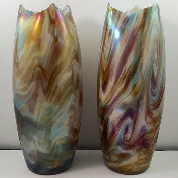 Opal-lined Marbled Vases, early 1900s, maker unknown
