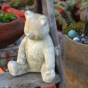 Teddy Bear Garden Ornament and Irridescent Elephant Found a Pink Chair - Animals