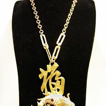 Vintage Donald Stannard Lucky Koi Necklace - Costume Jewelry