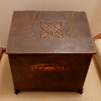 A Hayle Copper Wood Box with designs by Talwin Morris, early 1900's