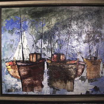 "Jean De Bomainq,French Impressionist, Oil Painting on Canvas""Harbor""Circa 1960-70 - Visual Art"