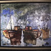 "Jean De Bomainq,French Impressionist, Oil Painting on Canvas""Harbor""Circa 1960-70"