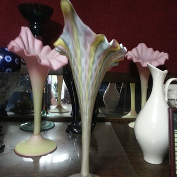 Rainbow colored , cased glass, jack in pulpit vase