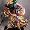 "LG 14"" ART DECO ITALIAN CERAMIC FIGURINE LADY WITH FLOWER BASKETS, 2 STARS MARK"
