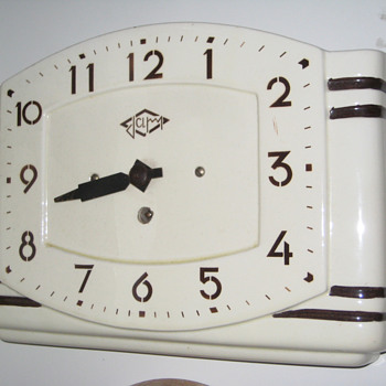 Antique ceramic 1950's French Japy wall clock. - Clocks