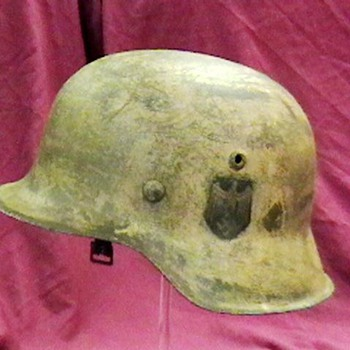 WW II German M- 42 Kriegsmarine Camouflaged Helmet - Military and Wartime