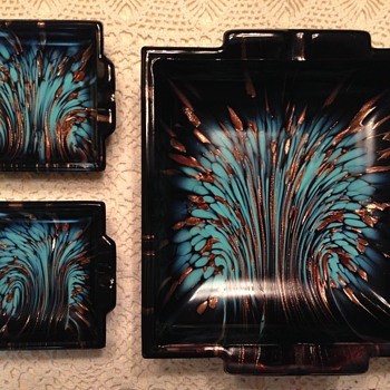 What I believe to be A MURANO ART GLASS ASHTRAY 3 piece set  - Art Glass