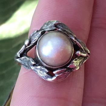 Bernard Instone Silver Pearl Ring - Art Deco