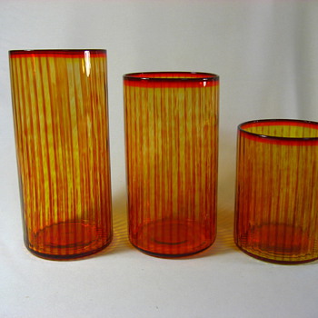 3 Glasses stripes & spots - Art Glass