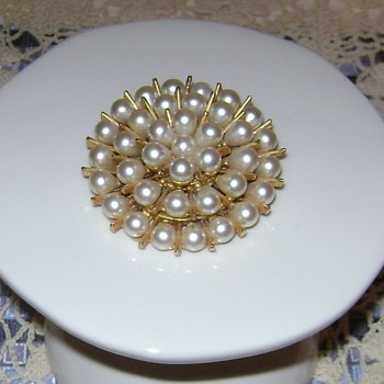 Faux Pearl Brooch - ART - Costume Jewelry