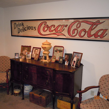 c. 1915 Canvas Coca-Cola Banner - Framed