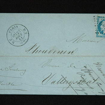 "rare letter ""envelope"" to Adrien Thouvenin, director of vallerysthal. 1861"