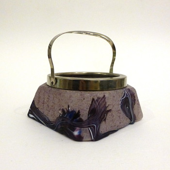 Starburst/marquetry purple lidded bowl
