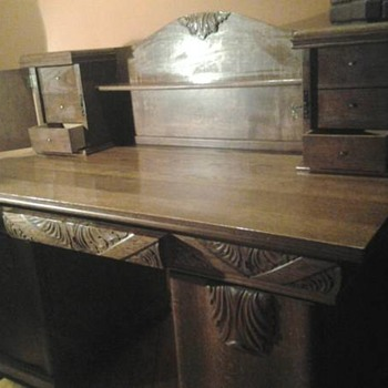 MAGNIFICENT CARVED OAK DESK MYSTERY-- 4 PIECE-- CIRCA 1900?