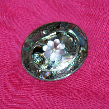 Abalone Brooch- Alpaca? - Costume Jewelry