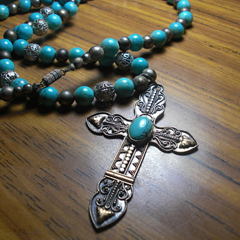 Antique Catholic rosary turquoise jewelry - Fine Jewelry