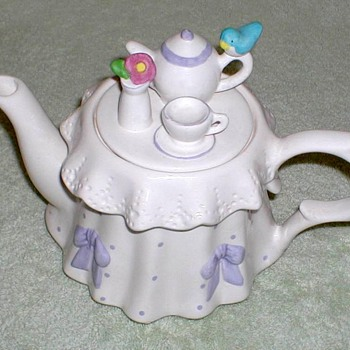 "Porcelain ""Tea Party"" Teapot - China and Dinnerware"