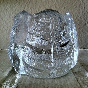 Orrefors Crystal Icy Leaf Candle Votive