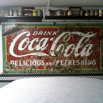 old 4' x 8' porcelain coke sign  - Coca-Cola