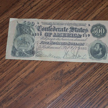 Confederate $500 Note - Military and Wartime