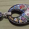 Micro Mosaic Flower Beetle Pendant in Vermeil (1872-1933)