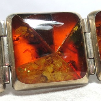 Mexican? Sterling Silver Amber Mosaic Bracelet