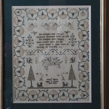 Religious phrase makes this sampler so endearing.  1830 an 11 year old from Sennen, Cornwall, England. I have pedigree info.