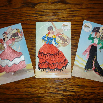 1940's-1950's silk post cards